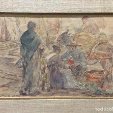 Arte: ACUARELA COSTUMBRISTA DE TOLEDO. PUESTO DEL MERCADO, 1903. Lote 106546855