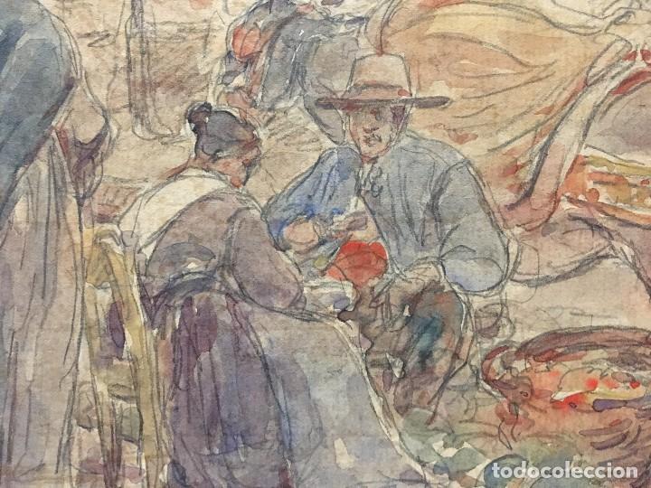 Arte: Acuarela costumbrista de Toledo. Puesto del mercado, 1903 - Foto 2 - 106546855