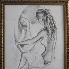 Arte: MUJER EN EL ESPEJO OBRA DE GILABERTE INCLUYO MARCO. Lote 104870755