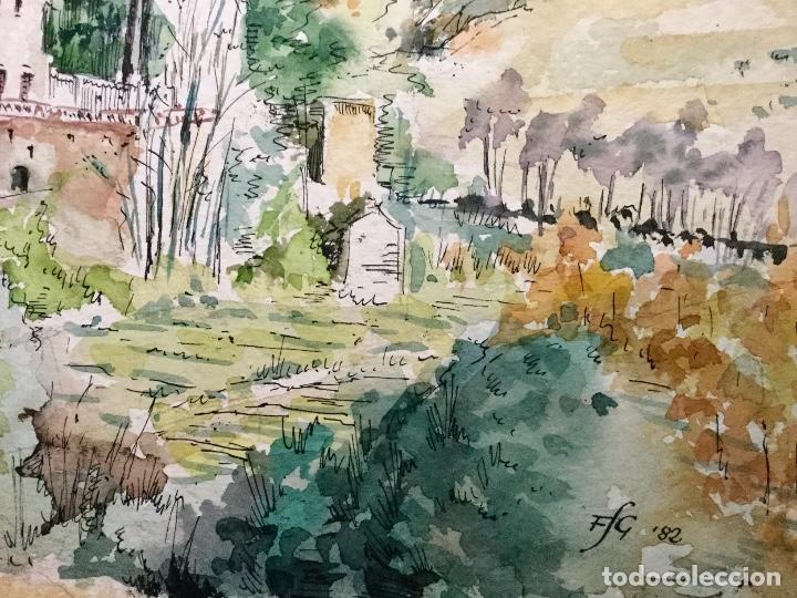 Arte: Acuarela con paisaje del acuarelista y dibujante catalán Francesc Sandiumenge i Gay (1930-2017) - Foto 4 - 106640543