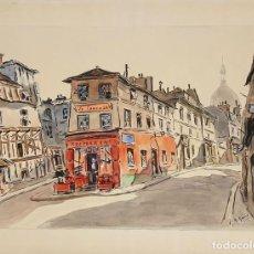 Arte: CALLE DE MONTMARTRE. ACUARELA SOBRE PAPEL. A. GUERIN. CIRCA 1940. . Lote 106745939