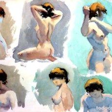 Arte: DESNUDOS FEMENINOS. ACUARELA SOBRE PAPEL. FIRMADO GASPAR ROMERO. ESPAÑA. 1986. Lote 106749119