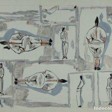 Arte: GOUACHE, ACUARELA Y TINTA SOBRE PAPEL FIGURAS MASCULINAS Y FEMENINAS FIRMADO ANART 1989. Lote 106895615