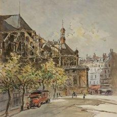 Arte: ST. EUSTACLE. PARIS. ACUARELA SOBRE PAPEL. A. GUERIN. CIRCA 1940. . Lote 106898255