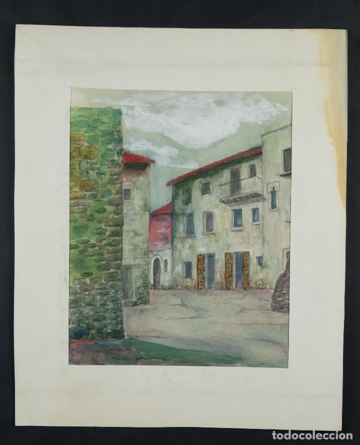 Arte: Acuarela, lápiz y gouache sobre papel Vista Rupit mediados siglo XX - Foto 2 - 106954963