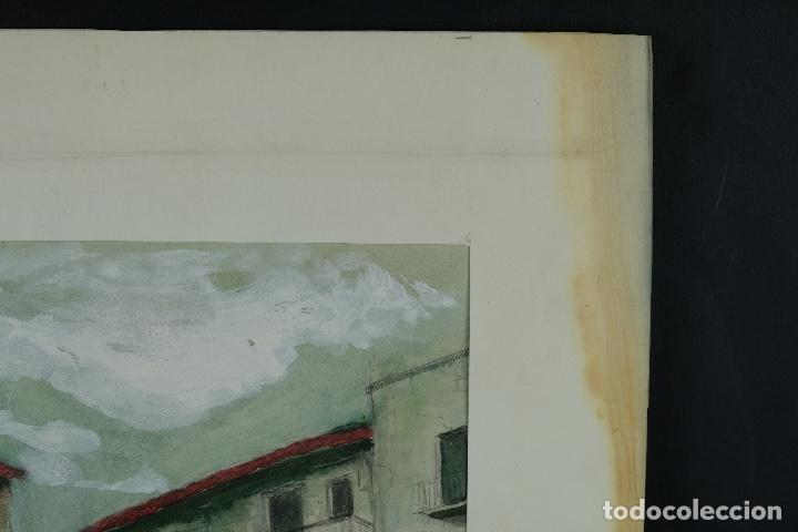 Arte: Acuarela, lápiz y gouache sobre papel Vista Rupit mediados siglo XX - Foto 3 - 106954963