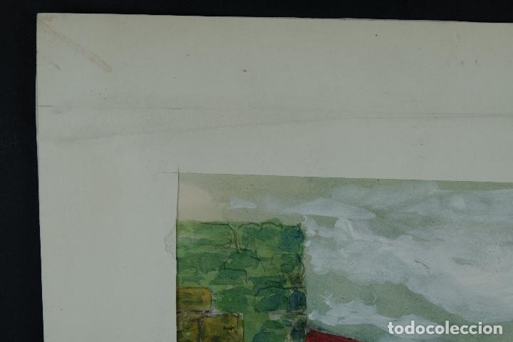 Arte: Acuarela, lápiz y gouache sobre papel Vista Rupit mediados siglo XX - Foto 4 - 106954963