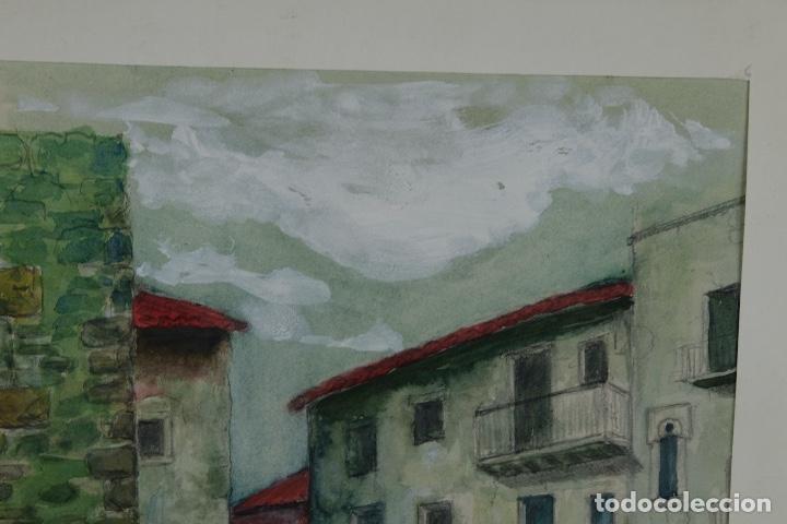 Arte: Acuarela, lápiz y gouache sobre papel Vista Rupit mediados siglo XX - Foto 5 - 106954963