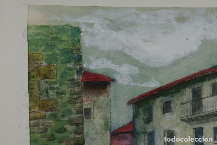 Arte: Acuarela, lápiz y gouache sobre papel Vista Rupit mediados siglo XX - Foto 6 - 106954963