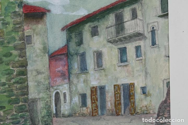 Arte: Acuarela, lápiz y gouache sobre papel Vista Rupit mediados siglo XX - Foto 7 - 106954963