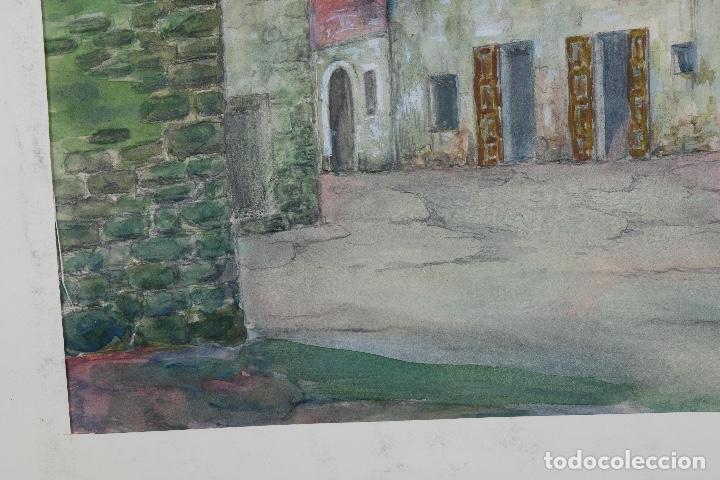 Arte: Acuarela, lápiz y gouache sobre papel Vista Rupit mediados siglo XX - Foto 8 - 106954963