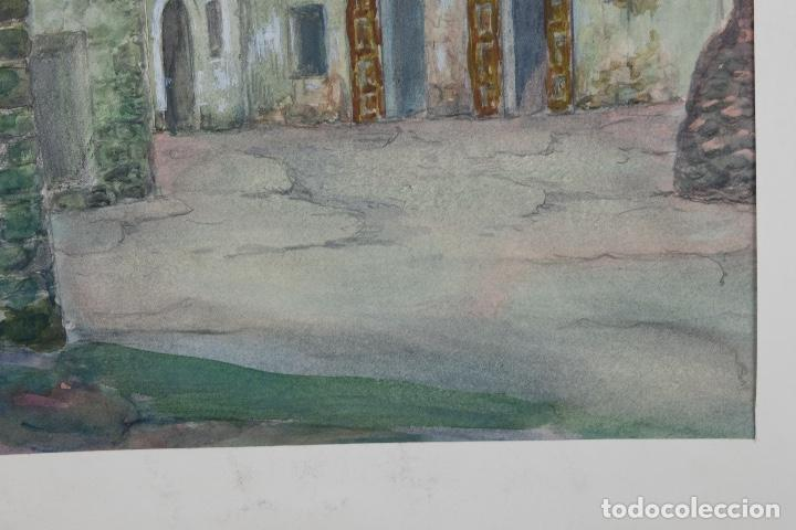 Arte: Acuarela, lápiz y gouache sobre papel Vista Rupit mediados siglo XX - Foto 9 - 106954963