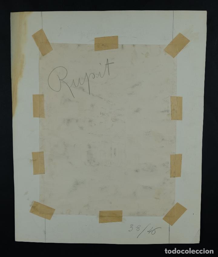 Arte: Acuarela, lápiz y gouache sobre papel Vista Rupit mediados siglo XX - Foto 10 - 106954963