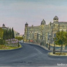 Arte: ACUARELA, GOUACHE Y TINTA SOBRE PAPEL VISTA BARCELONA FIRMA ILEGIBLE 1989. Lote 106955267