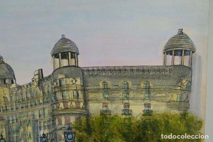 Arte: Acuarela, gouache y tinta sobre Papel Vista Barcelona firma ilegible 1989 - Foto 5 - 106955267