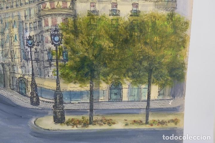 Arte: Acuarela, gouache y tinta sobre Papel Vista Barcelona firma ilegible 1989 - Foto 6 - 106955267