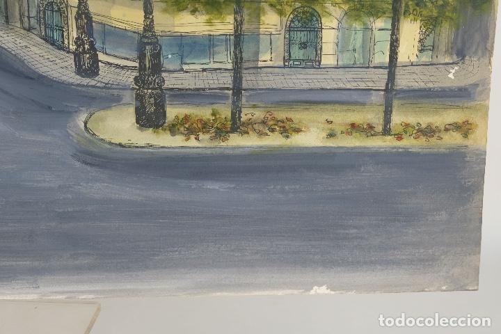 Arte: Acuarela, gouache y tinta sobre Papel Vista Barcelona firma ilegible 1989 - Foto 7 - 106955267