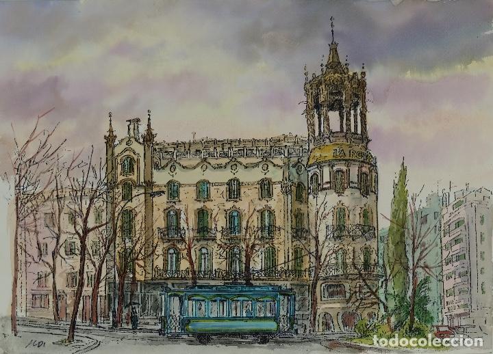 ACUARELA Y TINTA VISTA BARCELONA FIRMADA ALDI SIGLO XX (Arte - Acuarelas - Contemporáneas siglo XX)