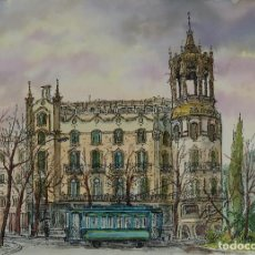Art: ACUARELA Y TINTA VISTA BARCELONA FIRMADA ALDI SIGLO XX. Lote 106955635