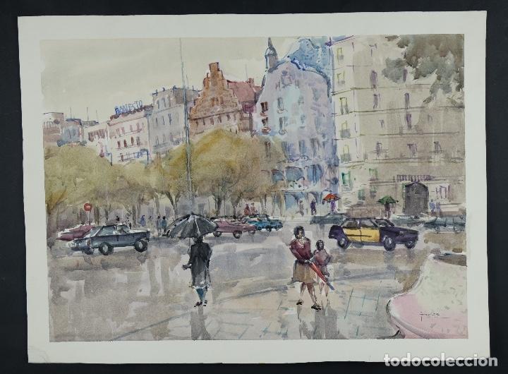 Arte: Acuarela sobre papel Vista Barcelona firmada Jorpe tercer tercio siglo XX - Foto 2 - 106955655
