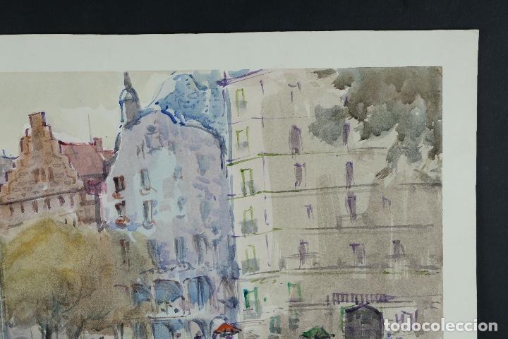 Arte: Acuarela sobre papel Vista Barcelona firmada Jorpe tercer tercio siglo XX - Foto 3 - 106955655