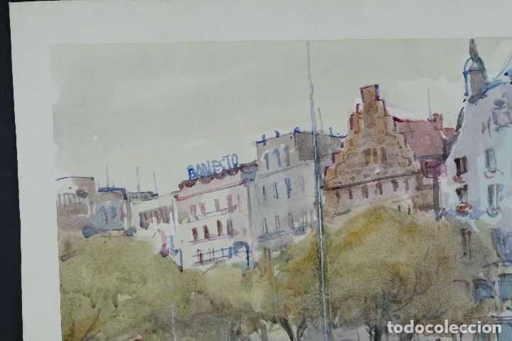 Arte: Acuarela sobre papel Vista Barcelona firmada Jorpe tercer tercio siglo XX - Foto 4 - 106955655
