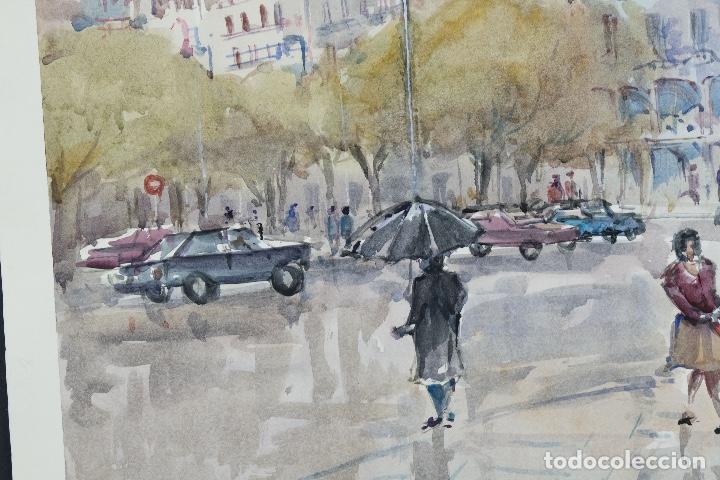 Arte: Acuarela sobre papel Vista Barcelona firmada Jorpe tercer tercio siglo XX - Foto 5 - 106955655