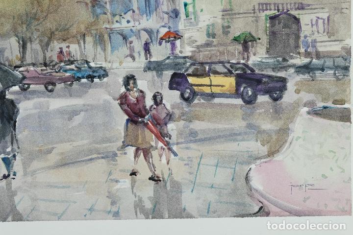 Arte: Acuarela sobre papel Vista Barcelona firmada Jorpe tercer tercio siglo XX - Foto 6 - 106955655