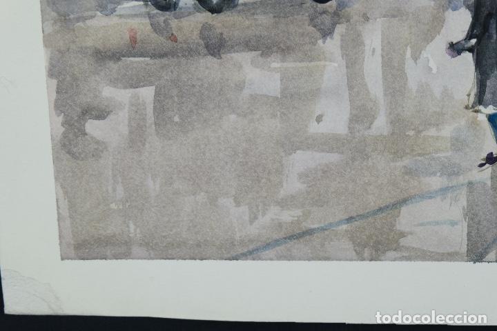 Arte: Acuarela sobre papel Vista Barcelona firmada Jorpe tercer tercio siglo XX - Foto 7 - 106955655
