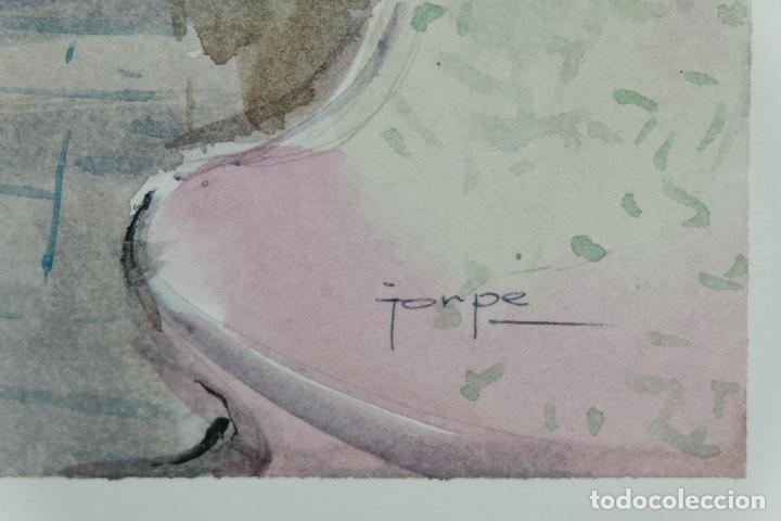 Arte: Acuarela sobre papel Vista Barcelona firmada Jorpe tercer tercio siglo XX - Foto 8 - 106955655