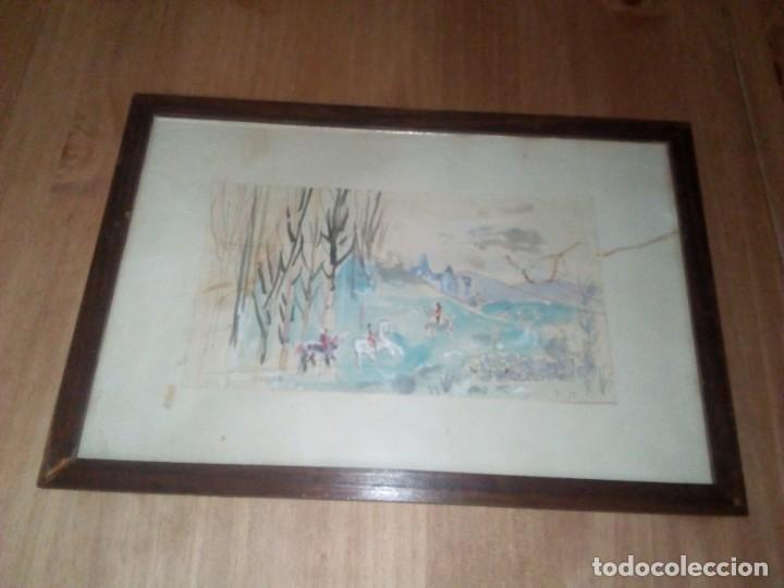 PRECIOSA ACUARELA ANTIGUA (Arte - Acuarelas - Modernas siglo XIX)