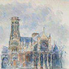 Arte: IGLESIA DE PARÍS. ACUARELA SOBRE PAPEL. A. GUERIN. CIRCA 1940.. Lote 107073415
