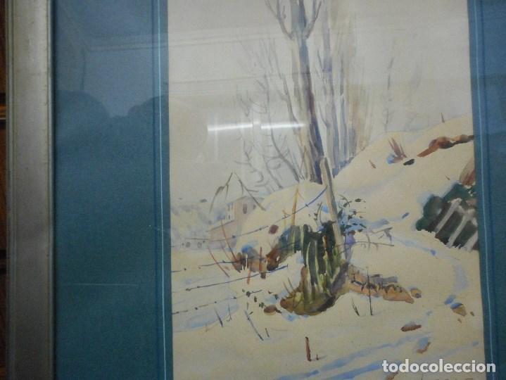 Arte: acuarela paisaje nevado firmada ferrer salinas - Foto 3 - 107120851