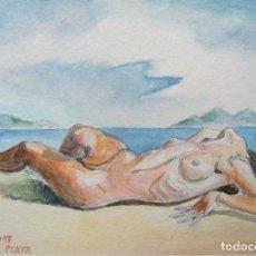 Kunst - acuarela mujer tumbada, acuarela paisaje, arte original, desnudo, arte erótico, pintura, Gestodedios - 107462871