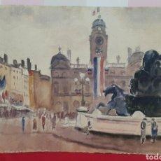Arte: ACUARELA PLAZA BARTHOLDI DE LYON FIRMADO P.VANIER??. Lote 107754975