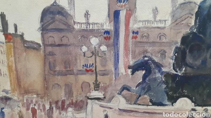 Arte: ACUARELA PLAZA BARTHOLDI DE LYON FIRMADO P.VANIER?? - Foto 2 - 107754975