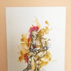"""Arte: ILUSTRACIÓN EN LIENZO, TINTA CHINA Y ACUARELA DE LA OBRA MAN SAD MAD TITULADA """"ESPERA"""". Lote 107991311"""