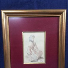 Arte: ACUARELA VENDEDORA CALLE PAÑUELO CABEZA FIRMA GOICO AGUIRRE MARCO DORADO PASPARTÚ 27 X 32 CM. Lote 108045215