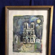 Arte: ACUARELA PARIS NOTRE DAME FIRMA A SOUSA 1965 DEDICADA PARIS 26 5 66 23 X 36 CM. Lote 108051363