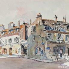 Arte: CALLE DE PARÍS. ACUARELA SOBRE PAPEL. A. GUERIN. FRANCIA. CIRCA 1940. . Lote 108061207