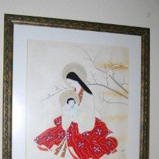 Arte: PRECIOSA ACUARELA SOBRE SEDA - MATERNIDAD - MUJER CON NIÑO - JAPÓN - FIRMA Y SELLO - 1ª MITAD S.XX. Lote 108317419