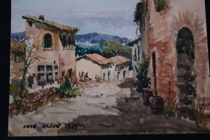 Arte: JOSÉ OLIVE GÓMEZ ( BARCELONA 1944 ) PRECIOSA ACUARELA , TITULADA, CASTELL DEL REMEI, LA BISBAL. - Foto 2 - 108726479