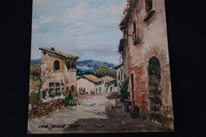 Arte: JOSÉ OLIVE GÓMEZ ( BARCELONA 1944 ) PRECIOSA ACUARELA , TITULADA, CASTELL DEL REMEI, LA BISBAL. - Foto 3 - 108726479