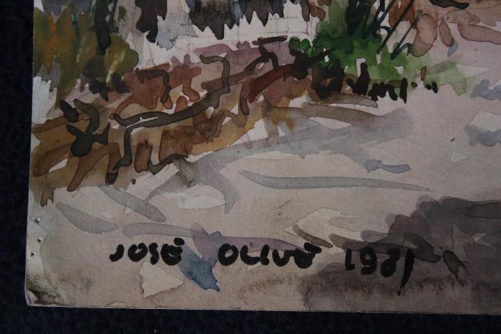 Arte: JOSÉ OLIVE GÓMEZ ( BARCELONA 1944 ) PRECIOSA ACUARELA , TITULADA, CASTELL DEL REMEI, LA BISBAL. - Foto 4 - 108726479