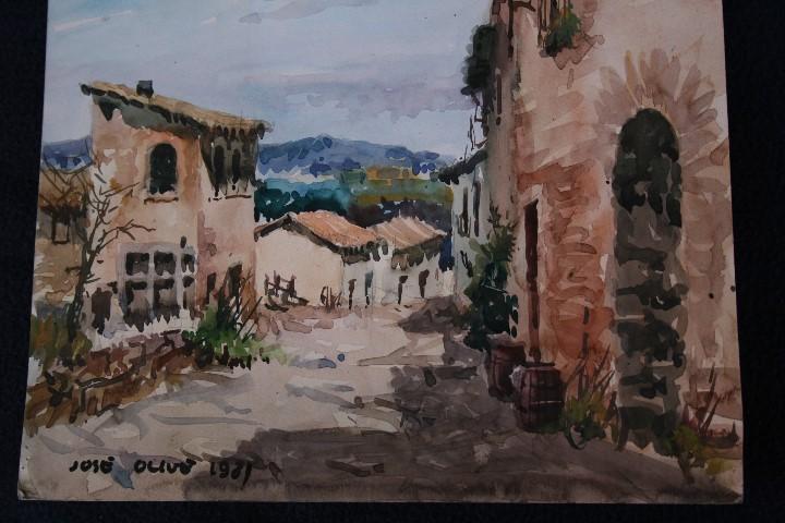 Arte: JOSÉ OLIVE GÓMEZ ( BARCELONA 1944 ) PRECIOSA ACUARELA , TITULADA, CASTELL DEL REMEI, LA BISBAL. - Foto 7 - 108726479