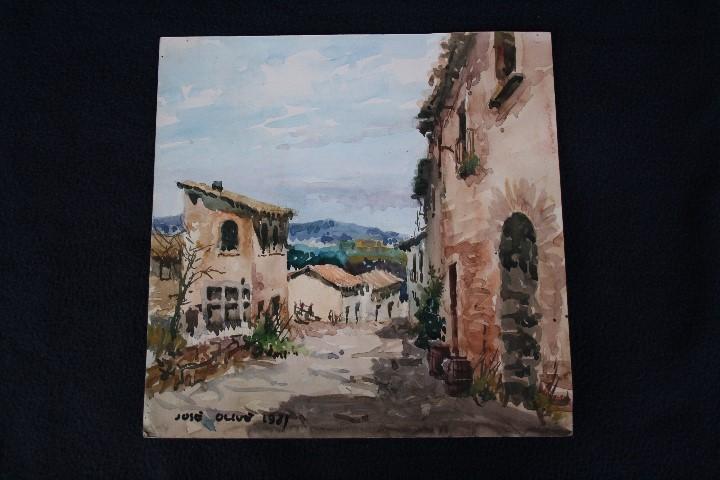 Arte: JOSÉ OLIVE GÓMEZ ( BARCELONA 1944 ) PRECIOSA ACUARELA , TITULADA, CASTELL DEL REMEI, LA BISBAL. - Foto 8 - 108726479