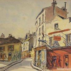 Arte: CALLE DE PARÍS. ACUARELA SOBRE PAPEL. A. GUERIN. FRANCIA. CIRCA 1940. . Lote 108772851