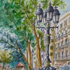 Arte: ACUARELA Y TINTA SOBRE PAPEL VISTA CALLE FIRMADO M. TERCER TERCIO SIGLO XX. Lote 108825446
