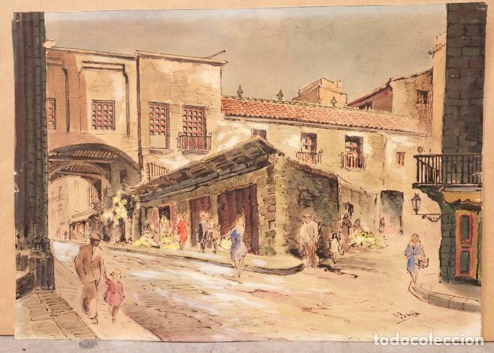 ACUARELA BARRI DE LA RIBERA (BORN), BARCELONA, FIRMADO BAYE. 33X23,5CM (Arte - Acuarelas - Contemporáneas siglo XX)