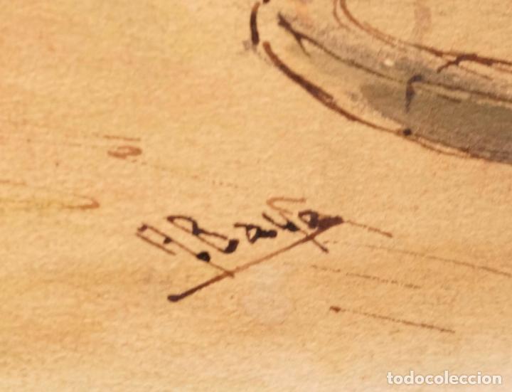 Arte: Acuarela Barri de la Ribera (Born), Barcelona, firmado Baye. 33x23,5cm - Foto 2 - 108868123